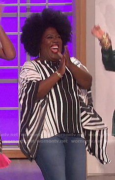 Sheryl's striped asymmetric top on The Talk