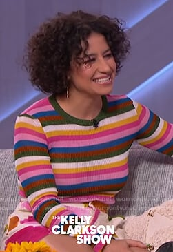 Ilana Glazer's striped sweater and floral shorts on The Kelly Clarkson Show