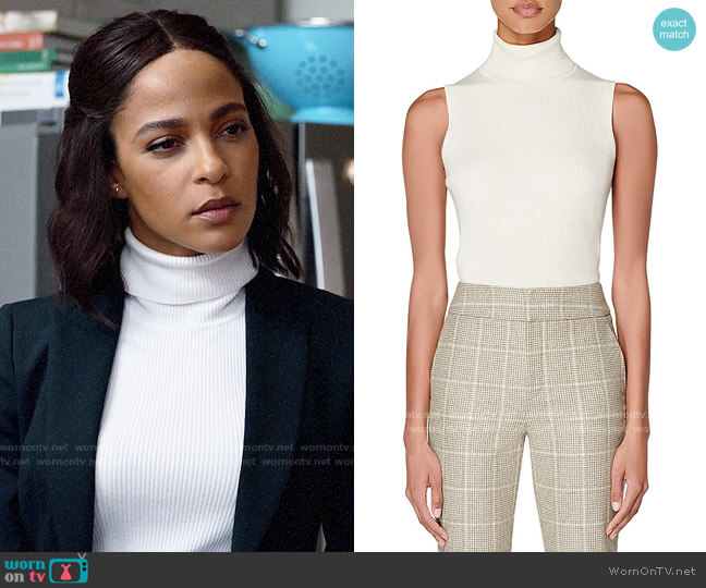 Suistudio Haze Sleeveless Ribbed Turtleneck worn by Edie Palmer (Megalyn Echikunwoke) on Almost Family