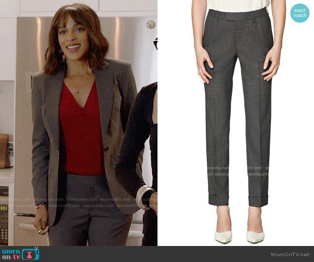 Suistudio Robin Cuff Wool Trousers worn by Edie Palmer (Megalyn Echikunwoke) on Almost Family