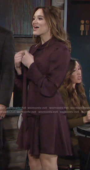 Summer's purple long sleeve draped dress on The Young and the Restless