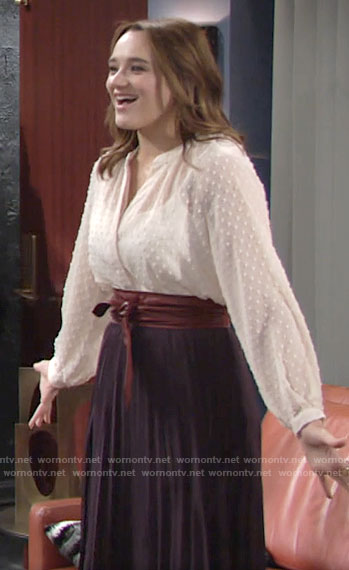 Summer's embroidered dot blouse on The Young and the Restless