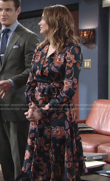Summer's floral wrap dress on The Young and the Restless
