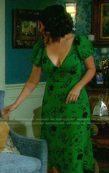 Summer's green floral dress on Days of our Lives