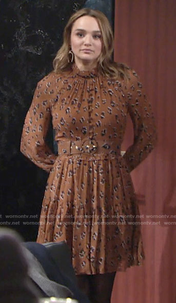 Summer's leopard print long sleeve dress on The Young and the Restless