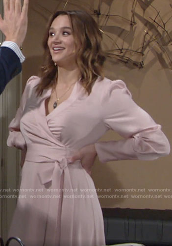 Summer's blush pink wrap dress on The Young and the Restless