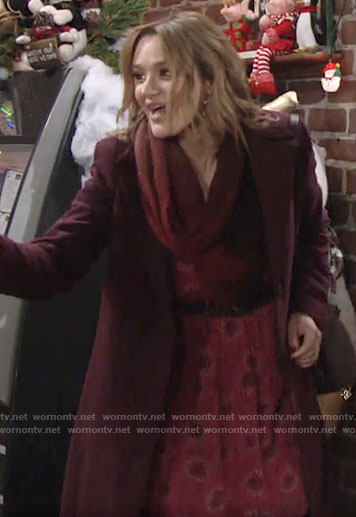 Summer's red floral dress on The Young and the Restless