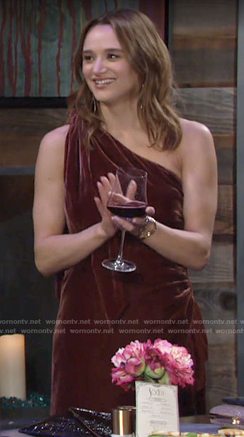 Summer's velvet one-shoulder dress on The Young and the Restless