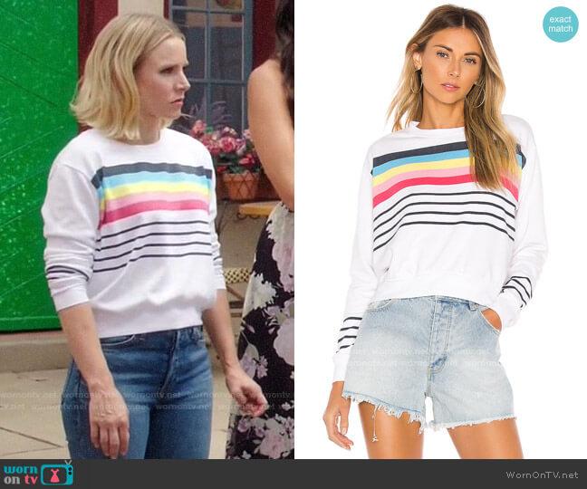 Sundry Crop Blouson Sweatshirt worn by Eleanor Shellstrop (Kristen Bell) on The Good Place
