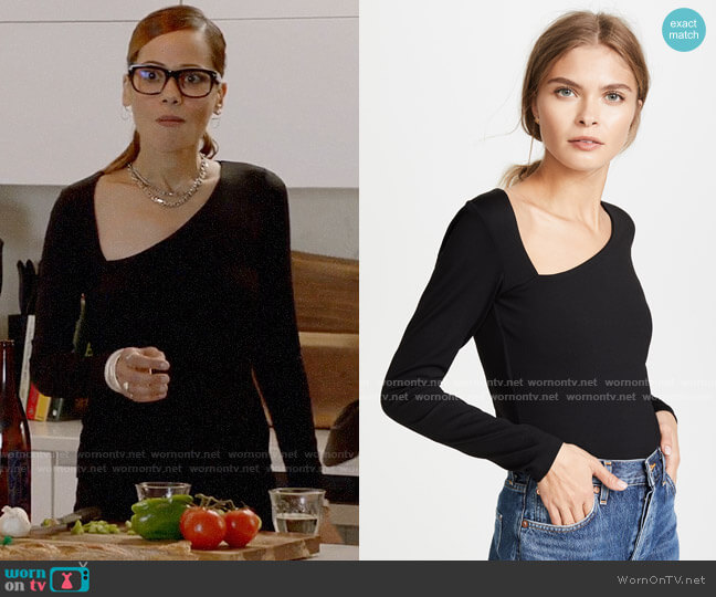 Susana Monaco Laurene Diagonal Neck Top worn by Amanda Doherty (Victoria Cartagena) on Almost Family