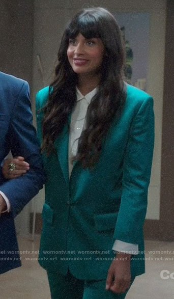 Tahani's teal satin suit on The Good Place