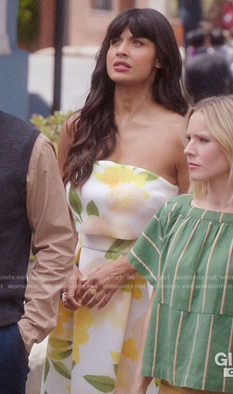Tahani's white and yellow floral strapless dress on The Good Place