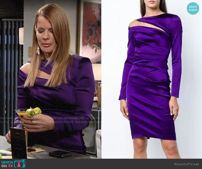 Talbot Runhof Cut-out Detail Wrap Dress worn by Phyllis Summers (Michelle Stafford) on The Young & the Restless
