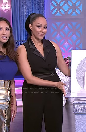Tamera's black sleeveless jumpsuit on The Real