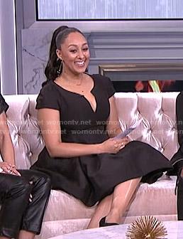 Tamera's black v-neck flare dress on The Real