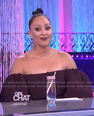 Tamera's purple off-shoulder puff sleeve dress on The Real