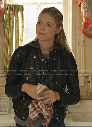 Tami's black hooded leather jacket on Shameless