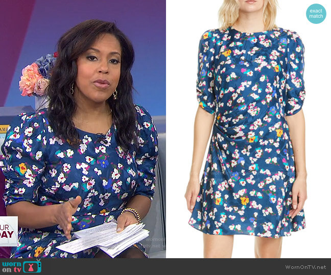 Liz Floral Silk Jacquard Dress by Tanya Taylor worn by Sheinelle Jones  on Today