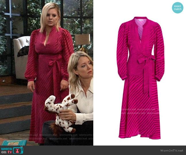 Tanya Taylor Marcela Zebra Print Midi Dress worn by Maxie Jones (Kirsten Storms) on General Hospital