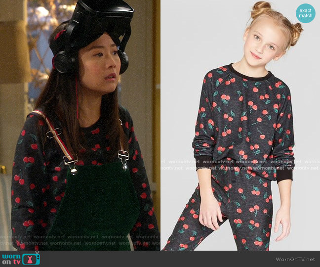 Target Art Class Cherry Sweatshirt worn by Jen (Krista Marie Yu) on Last Man Standing