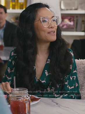 Doris's green pug print blouse on American Housewife