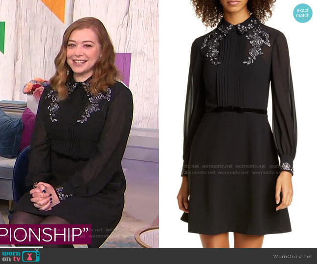 Embroidered Collar Shirtdress by Ted Baker worn by Alyson Hannigan on Today Show