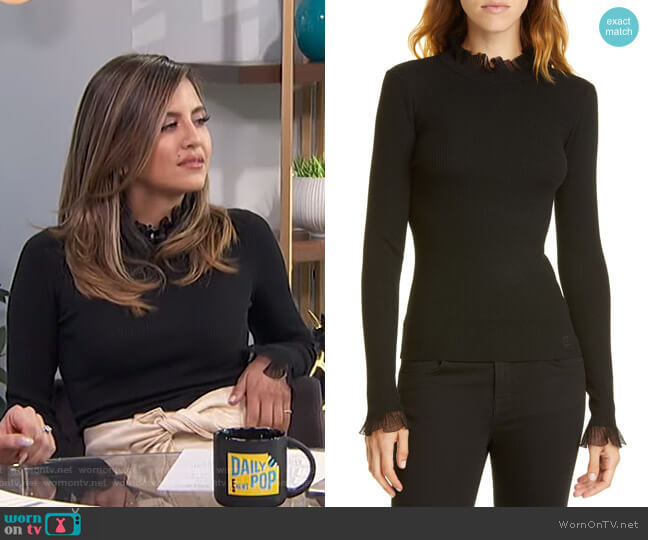 Frill Trim Sweater by Ted Baker worn by Erin Lim  on E! News