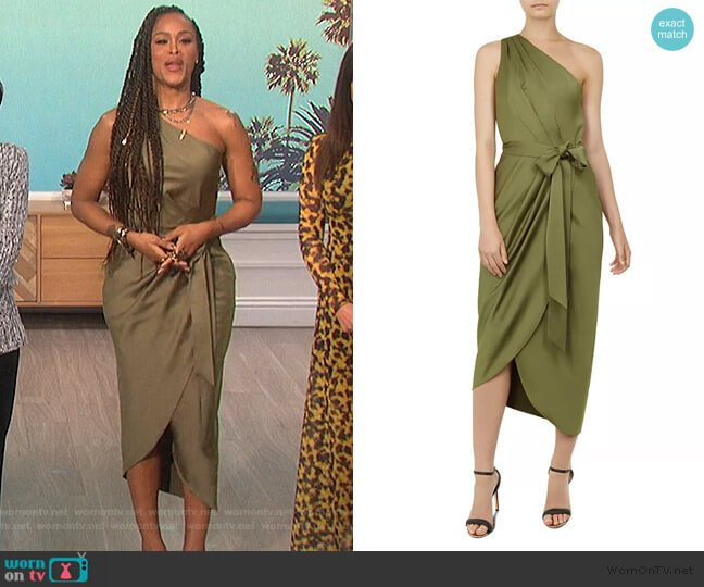 Gabie One-Shoulder Draped Dress by Ted Baker worn by Eve  on The Talk