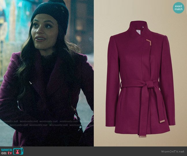 Ted Baker Drytaa Coat in Deep Pink worn by Maggie Vera (Sarah Jeffery) on Charmed