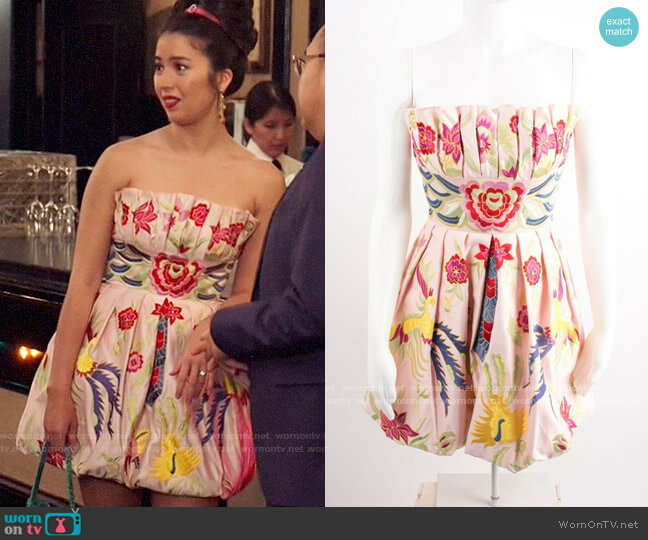 Terani Couture Floral Strapless Mini Dress worn by Cheyenne (Nichole Bloom) on Superstore