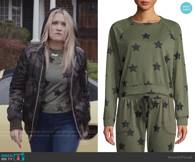 Terez Star-Print Crewneck Pullover Sweatshirt worn by Roxy Doyle (Emily Osment) on Almost Family
