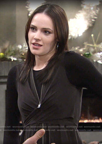 Tessa's black zip front wraparound dress on The Young and the Restless
