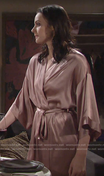 Tessa's satin robe on The Young and the Restless