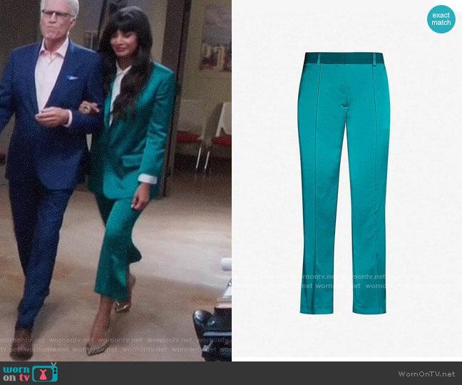 The Kooples High Rise Slit Detail Satin Trousers worn by Tahani Al-Jamil (Jameela Jamil) on The Good Place