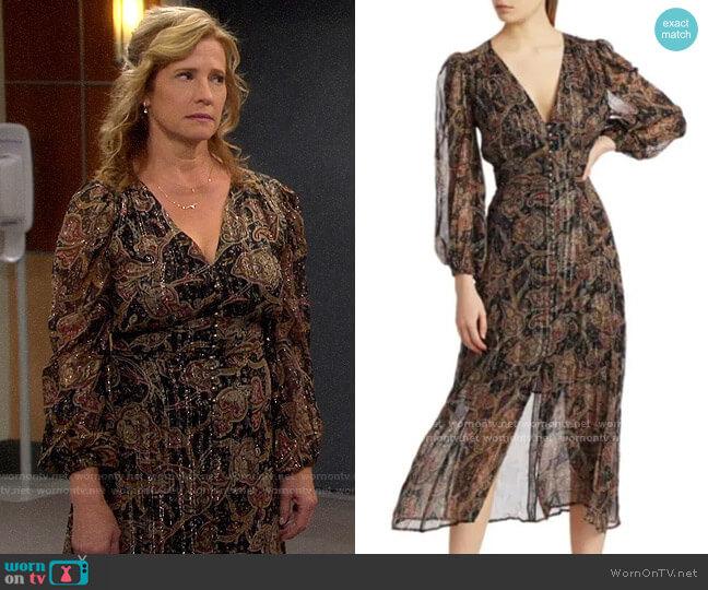 The Kooples Paisley Metallic Silk Midi Dress worn by Vanessa Baxter (Nancy Travis) on Last Man Standing
