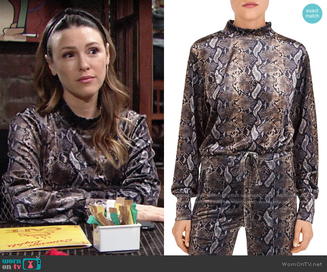 The Kooples Snakeskin-Print Fleece Sweatshirt worn by Chloe Mitchell (Elizabeth Hendrickson) on The Young & the Restless