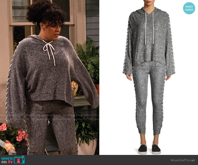The Kooples Sweet Fleece Lace-Up Hoodie and Sweatpants worn by Cocoa McKellan (Tia Mowry-Hardrict) on Family Reunion