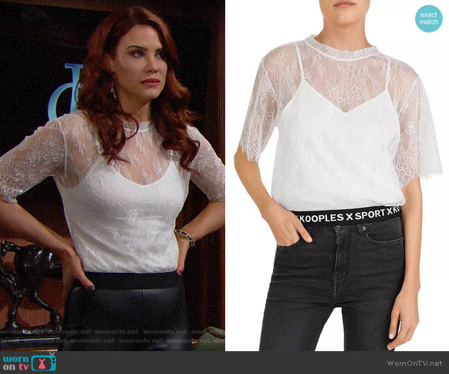 The Kooples Lace & Logo-Hem Top worn by Sally Spectra (Courtney Hope) on The Bold & the Beautiful