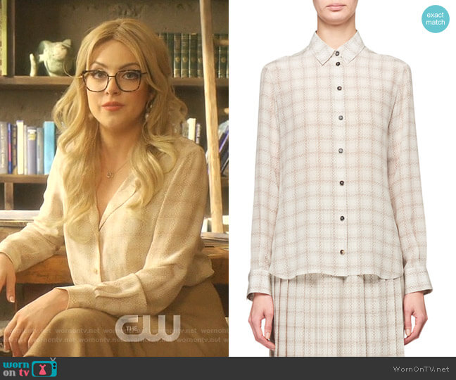 Jonas Squiggle Print Button-Front Silk Shirt by The Row worn by Fallon Carrington (Elizabeth Gillies) on Dynasty