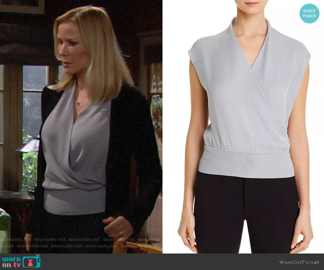 Theory Draped Silk Top in Blue Mist worn by Brooke Logan (Katherine Kelly Lang) on The Bold & the Beautiful