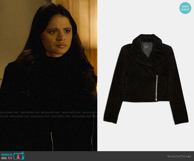 Theory Embossed Faux Fur Slim Moto Jacket worn by Mel Vera (Melonie Diaz) on Charmed