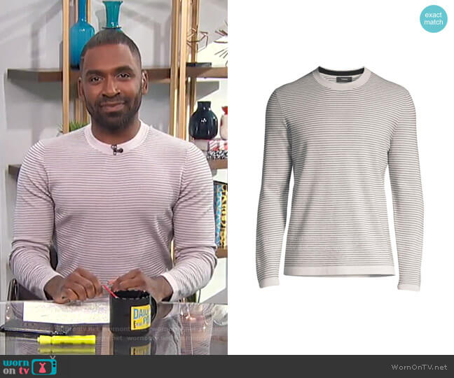 Ollis Striped Crewneck Sweater by Theory worn by Justin Sylvester  on E! News