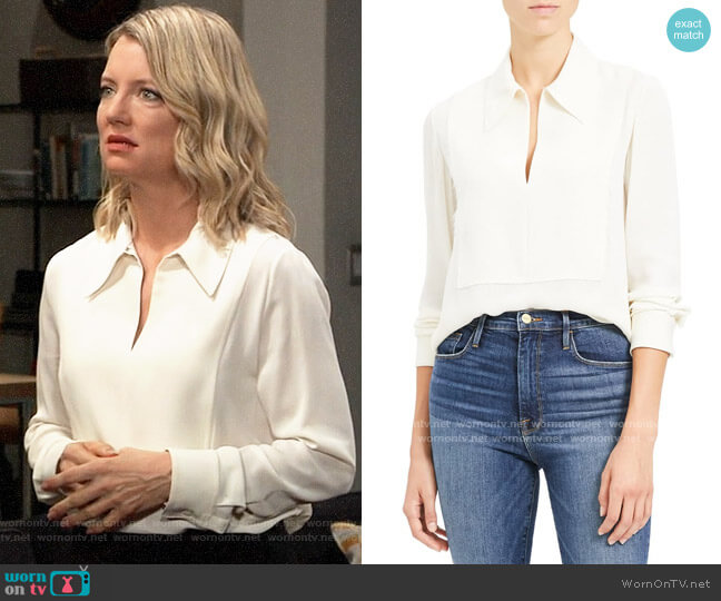 Theory Popover Classic Silk Blouse worn by Nina Reeves (Cynthia Watros) on General Hospital