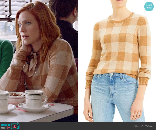 Theory Cashmere Plaid Crewneck Sweater worn by Julia Bechley (Brittany Snow) on Almost Family