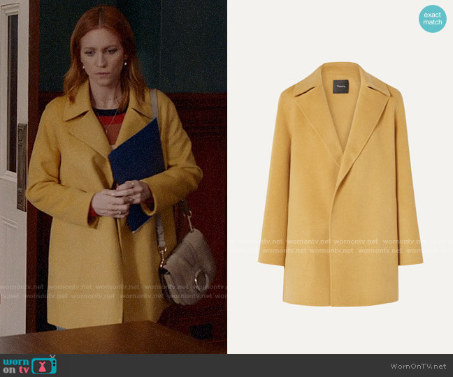 Theory Wool and cashmere-blend coat worn by Julia Bechley (Brittany Snow) on Almost Family