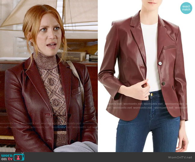 Theory Classic Leather Shrunken Jacket worn by Julia Bechley (Brittany Snow) on Almost Family