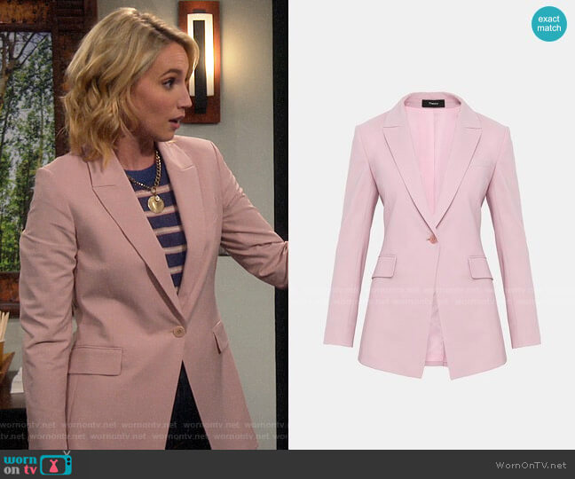Theory Etiennette B Blazer in Baby Pink worn by Mandy Baxter (Molly McCook) on Last Man Standing
