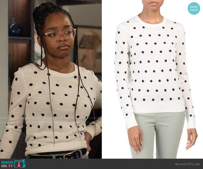 Theory Polka Dot Merino Wool Sweater worn by Diane Johnson (Marsai Martin) on Blackish