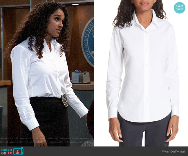 Theory Tenia Shirt worn by Jordan Ashford (Briana Nicole Henry) on General Hospital