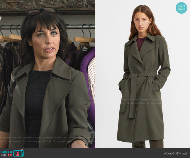 Oaklane Trench Coat by Theory worn by Constance Zimmer on Shameless